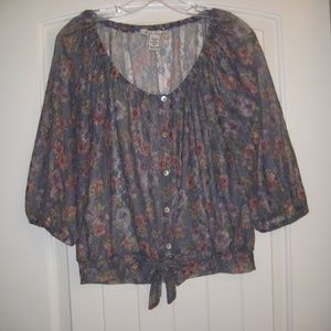 AMERICAN RAG Blouse Sheer Floral Button Front